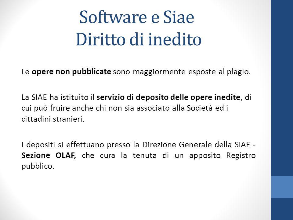 Software e Siae Diritto di inedito Le opere non pubblicate sono maggiormente esposte al plagio. La SIAE ha istituito il servizio di deposito delle ope