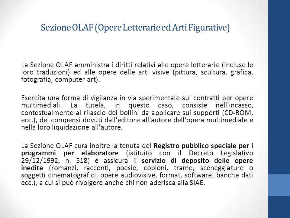 Sezione OLAF (Opere Letterarie ed Arti Figurative) La Sezione OLAF amministra i diritti relativi alle opere letterarie (incluse le loro traduzioni) ed alle opere delle arti visive (pittura, scultura, grafica, fotografia, computer art).
