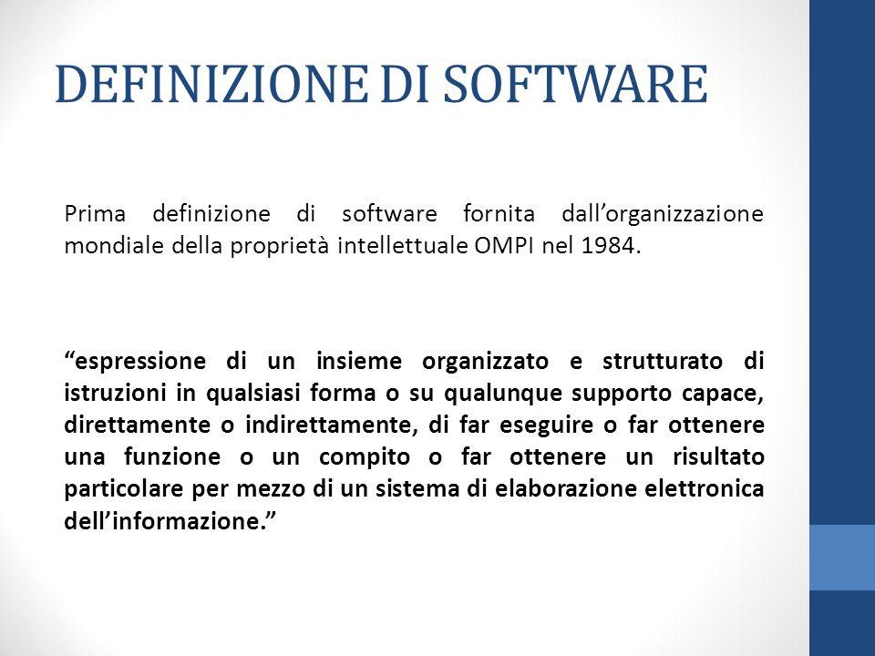 DEFINIZIONE DI SOFTWARE Prima definizione di software fornita dall'organizzazione mondiale della proprietà intellettuale OMPI nel 1984.