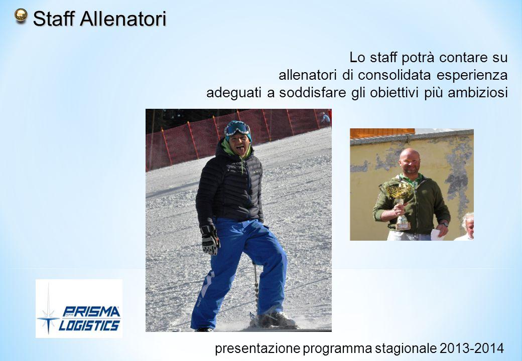 Staff Allenatori Staff Allenatori Lo staff potrà contare su allenatori di consolidata esperienza adeguati a soddisfare gli obiettivi più ambiziosi presentazione programma stagionale 2013-2014