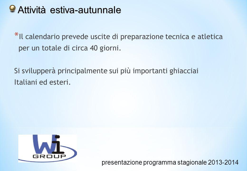 Attività estiva-autunnale Attività estiva-autunnale presentazione programma stagionale 2013-2014