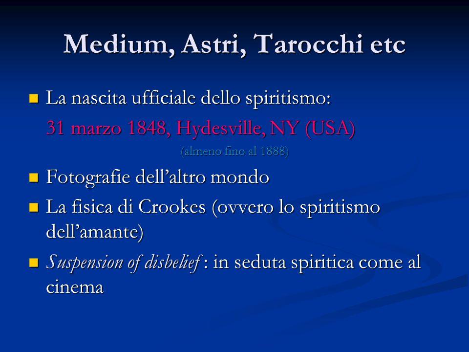 Medium, Astri, Tarocchi etc La nascita ufficiale dello spiritismo: La nascita ufficiale dello spiritismo: 31 marzo 1848, Hydesville, NY (USA) (almeno