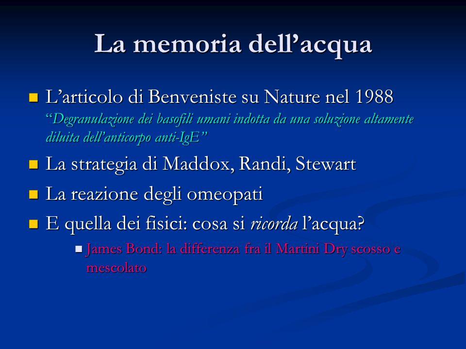 """La memoria dell'acqua L'articolo di Benveniste su Nature nel 1988 """"Degranulazione dei basofili umani indotta da una soluzione altamente diluita dell'a"""