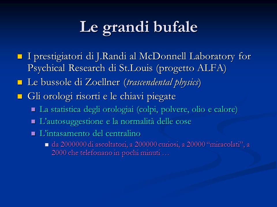 Le grandi bufale I prestigiatori di J.Randi al McDonnell Laboratory for Psychical Research di St.Louis (progetto ALFA) I prestigiatori di J.Randi al M
