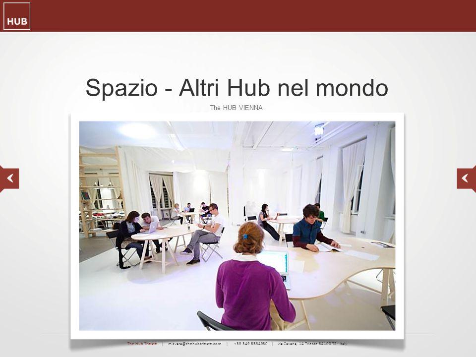 Spazio - Altri Hub nel mondo The HUB VIENNA The Hub Trieste | m.svara@thehubtrieste.com | +39 349 8534930 | via Cavana, 14 Trieste 34100 TS - Italy