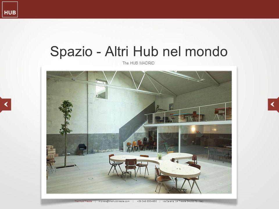 Spazio - Altri Hub nel mondo The HUB MADRID The Hub Trieste | m.svara@thehubtrieste.com | +39 349 8534930 | via Cavana, 14 Trieste 34100 TS - Italy