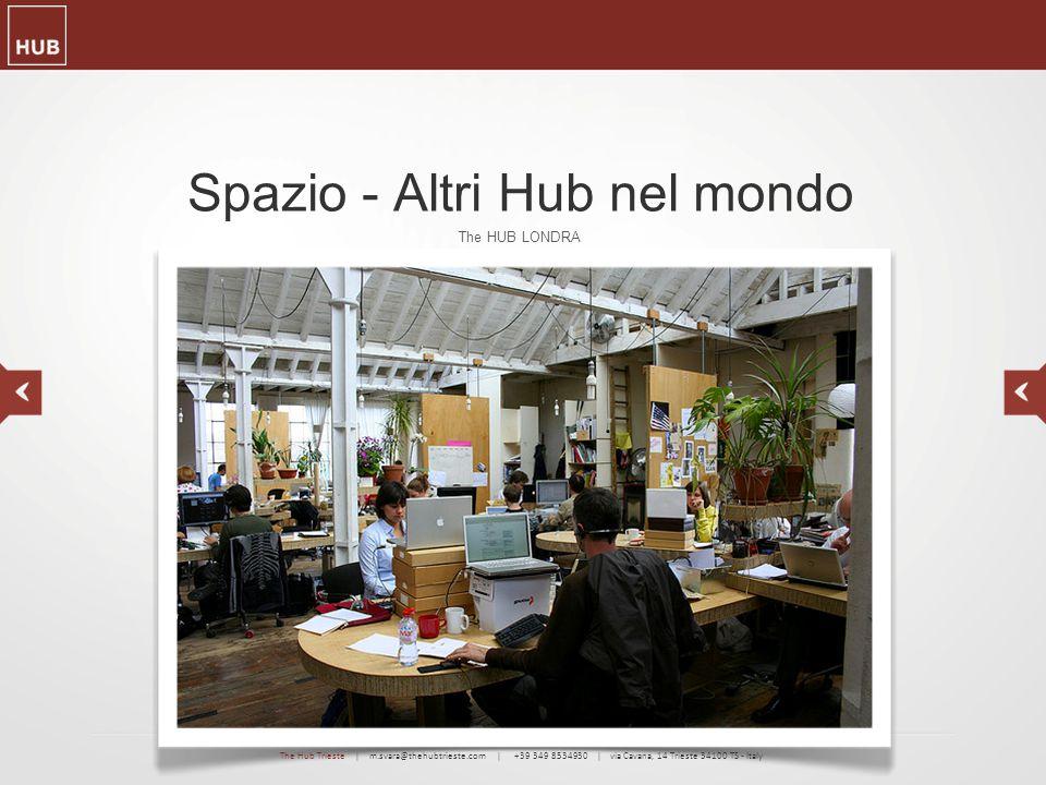 Spazio - Altri Hub nel mondo The HUB LONDRA The Hub Trieste | m.svara@thehubtrieste.com | +39 349 8534930 | via Cavana, 14 Trieste 34100 TS - Italy