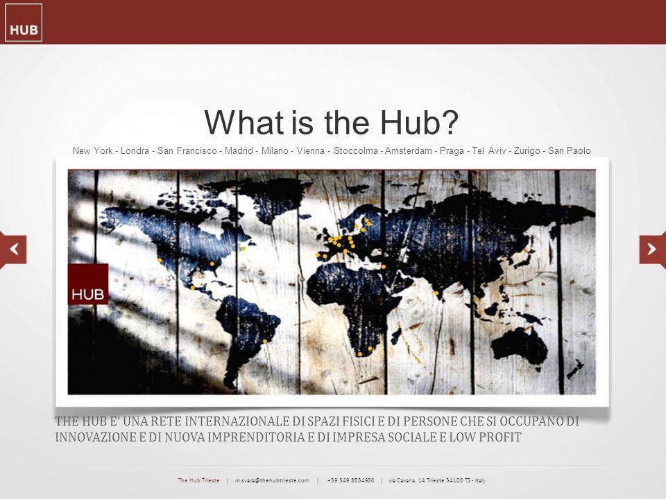 The Hub Vision CREATIVITA' ED INNOVAZIONE POSSONO CREARE PRODOTTI E SERVIZI SOSTENIBILI, SCALABILI E DAL GRANDE VALORE AGGIUNTO: UNA PROSPETTIVA INDEROGABILE PER GLI IMPRENDITORI DEL FUTURO The Hub Trieste   m.svara@thehubtrieste.com   +39 349 8534930   via Cavana, 14 Trieste 34100 TS - Italy