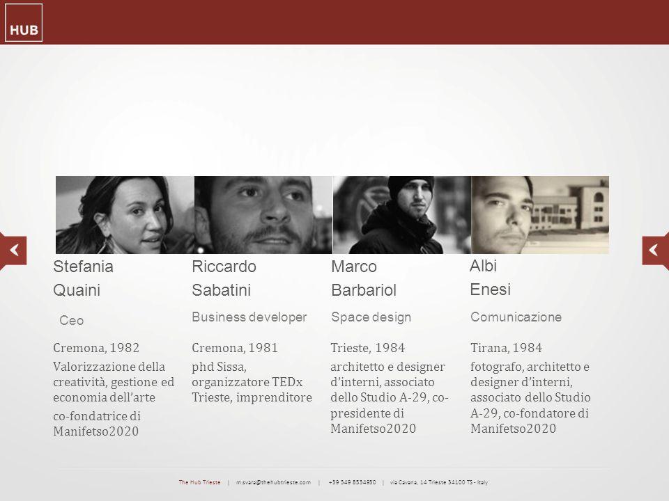 Business developerComunicazioneSpace design Stefania Quaini Ceo Cremona, 1982 Valorizzazione della creatività, gestione ed economia dell'arte co-fonda