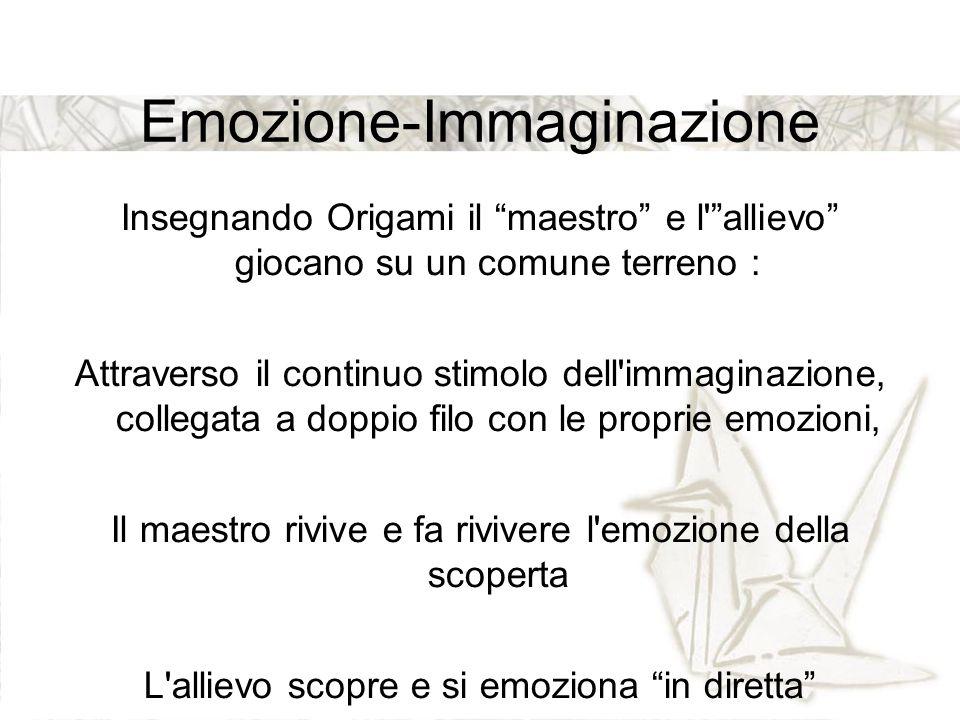 """Emozione-Immaginazione Insegnando Origami il """"maestro"""" e l'""""allievo"""" giocano su un comune terreno : Attraverso il continuo stimolo dell'immaginazione,"""