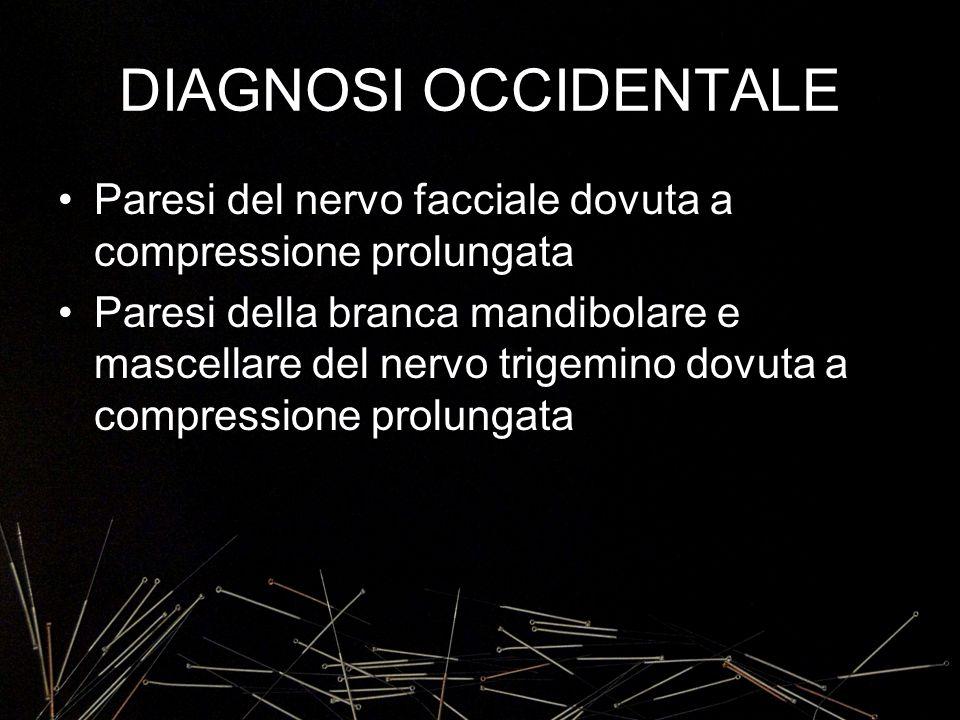 DIAGNOSI OCCIDENTALE Paresi del nervo facciale dovuta a compressione prolungata Paresi della branca mandibolare e mascellare del nervo trigemino dovut