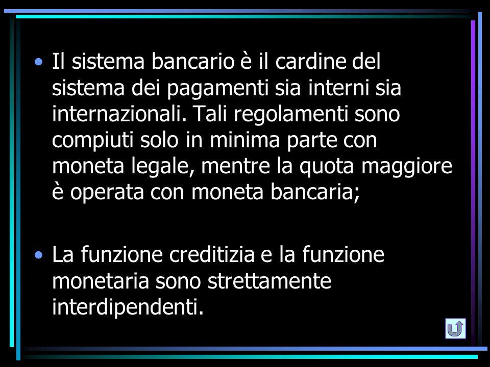 Il sistema bancario è il cardine del sistema dei pagamenti sia interni sia internazionali. Tali regolamenti sono compiuti solo in minima parte con mon