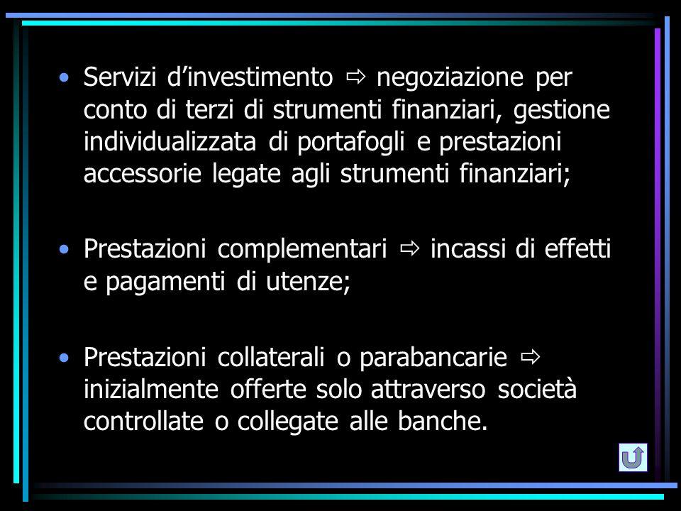 Servizi d'investimento  negoziazione per conto di terzi di strumenti finanziari, gestione individualizzata di portafogli e prestazioni accessorie leg