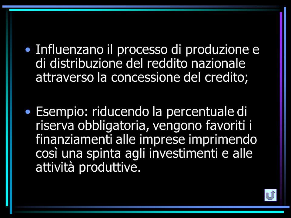 Influenzano il processo di produzione e di distribuzione del reddito nazionale attraverso la concessione del credito; Esempio: riducendo la percentual