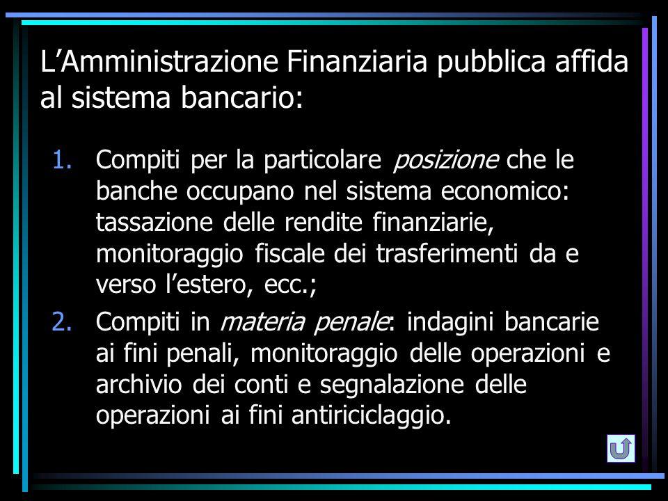 L'Amministrazione Finanziaria pubblica affida al sistema bancario: 1.Compiti per la particolare posizione che le banche occupano nel sistema economico