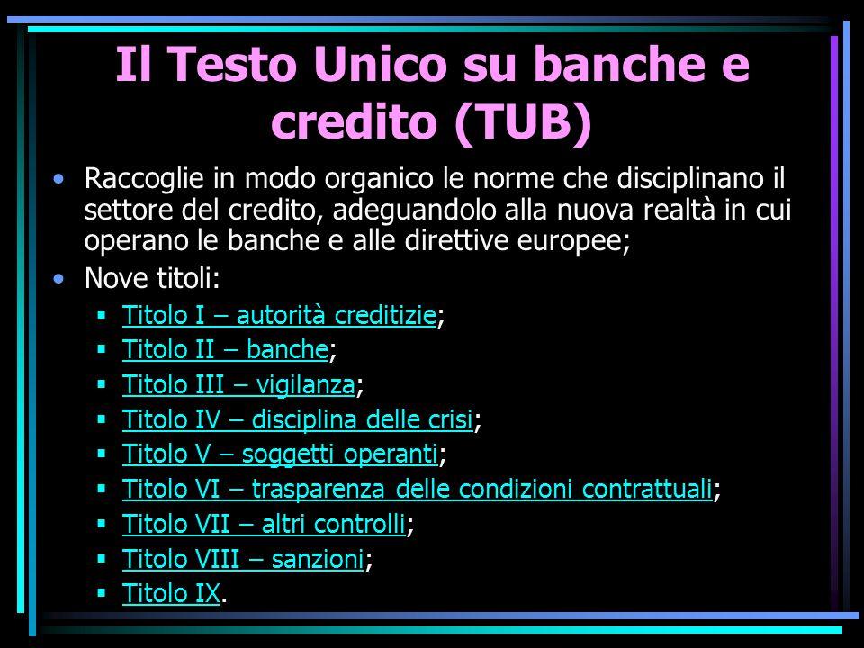 Il Testo Unico su banche e credito (TUB) Raccoglie in modo organico le norme che disciplinano il settore del credito, adeguandolo alla nuova realtà in