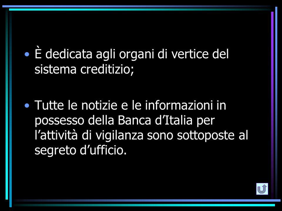 È dedicata agli organi di vertice del sistema creditizio; Tutte le notizie e le informazioni in possesso della Banca d'Italia per l'attività di vigila