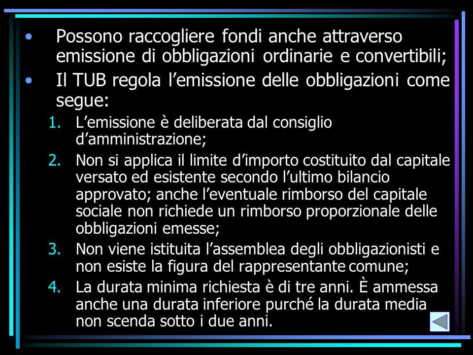 Possono raccogliere fondi anche attraverso emissione di obbligazioni ordinarie e convertibili; Il TUB regola l'emissione delle obbligazioni come segue