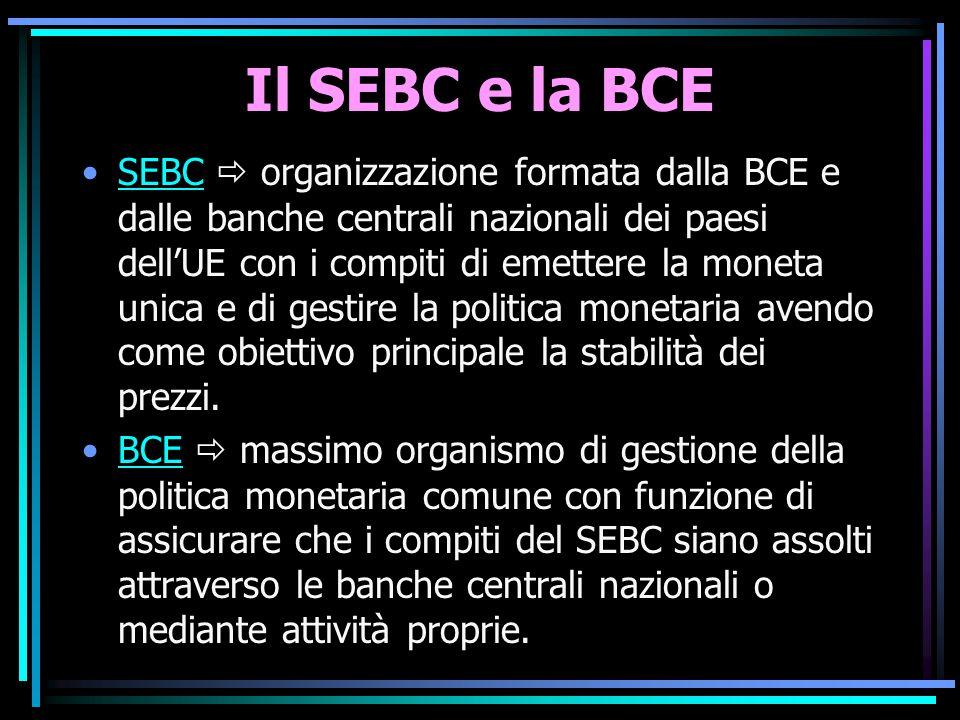 Il SEBC e la BCE SEBC  organizzazione formata dalla BCE e dalle banche centrali nazionali dei paesi dell'UE con i compiti di emettere la moneta unica