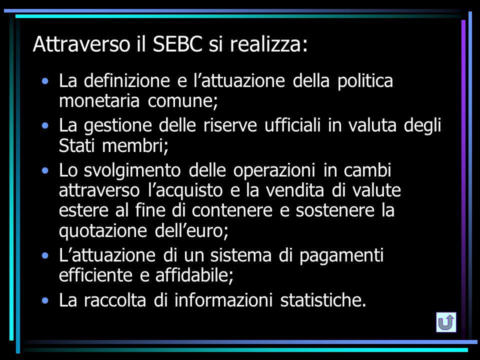 Attraverso il SEBC si realizza: La definizione e l'attuazione della politica monetaria comune; La gestione delle riserve ufficiali in valuta degli Sta