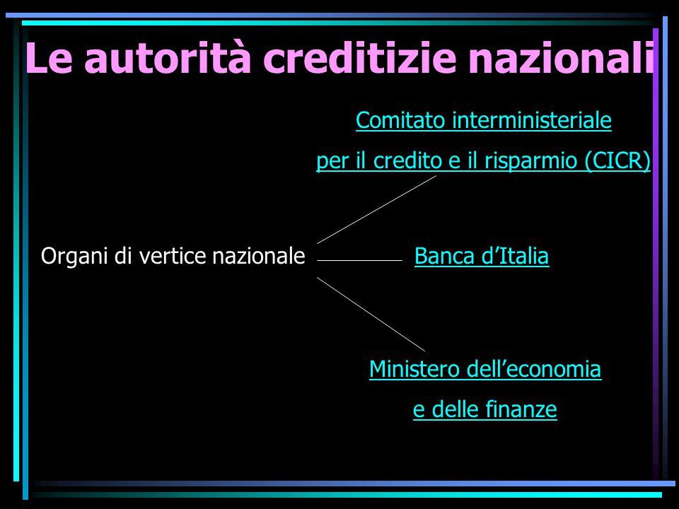 Le autorità creditizie nazionali Organi di vertice nazionale Comitato interministeriale per il credito e il risparmio (CICR) Banca d'Italia Ministero