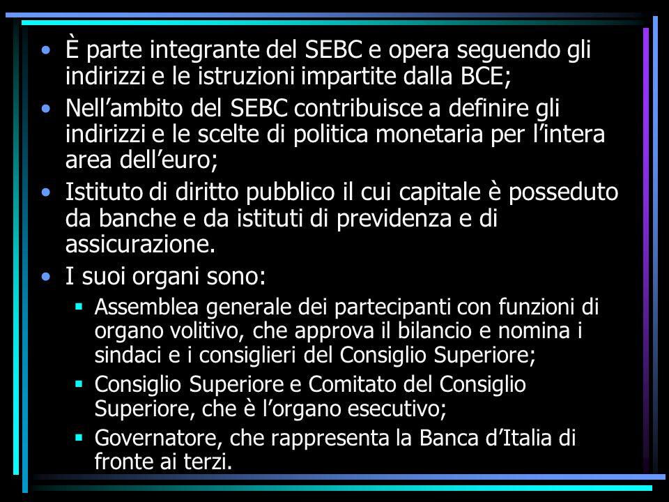 È parte integrante del SEBC e opera seguendo gli indirizzi e le istruzioni impartite dalla BCE; Nell'ambito del SEBC contribuisce a definire gli indir