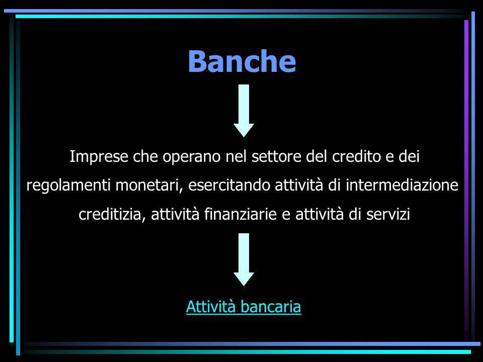 Banche Attività bancaria Imprese che operano nel settore del credito e dei regolamenti monetari, esercitando attività di intermediazione creditizia, a