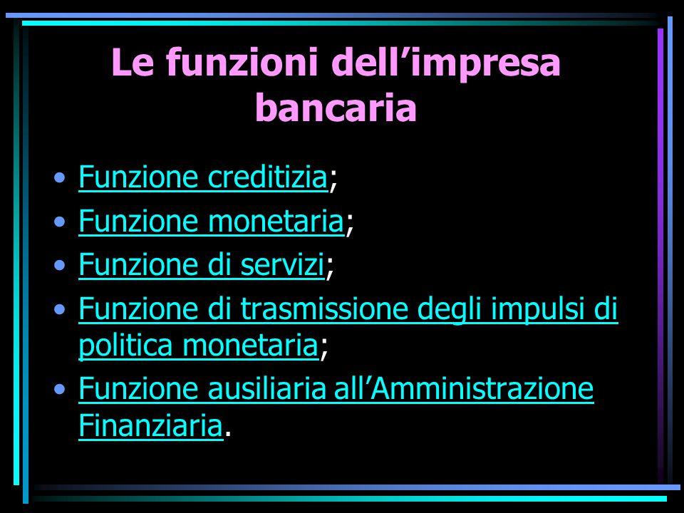 Le funzioni dell'impresa bancaria Funzione creditizia;Funzione creditizia Funzione monetaria;Funzione monetaria Funzione di servizi;Funzione di serviz