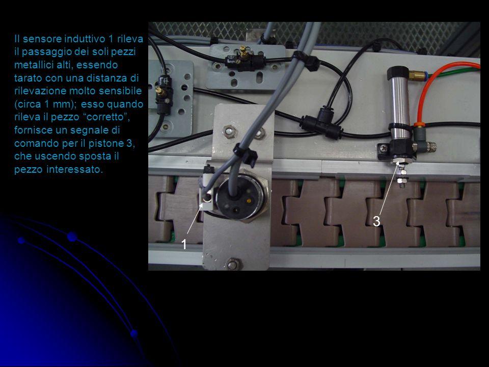 """1 2 La seconda """"stazione"""", permette la separazione dei pezzi 1 Terzo pistone: permette la divisione dei pezzi di scarto da quelli metallici alti 2 Ele"""