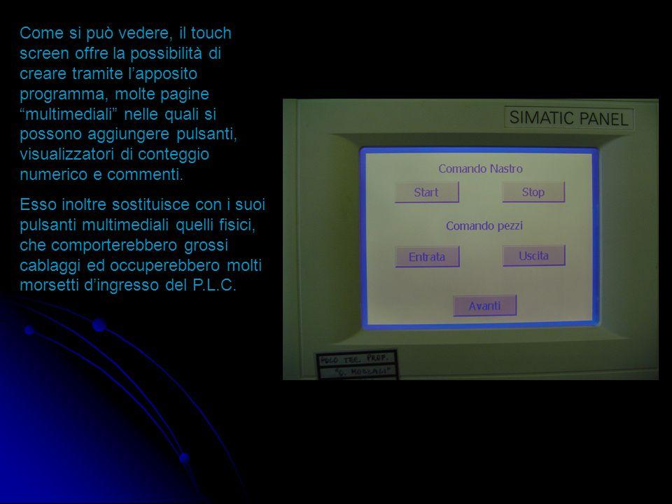 1 Il P.L.C. è in grado di comunicare attraverso un cavo seriale 1, con il pannello di controllo (touch sceen) posto sopra il quadro; questo collegamen