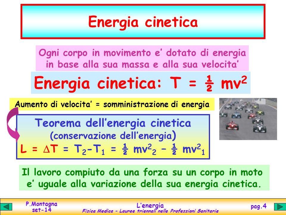 P.Montagna set-14 L'energia Fisica Medica – Lauree triennali nelle Professioni Sanitarie pag.4 Energia cinetica Ogni corpo in movimento e' dotato di energia in base alla sua massa e alla sua velocita' Energia cinetica: T = ½ mv 2 Aumento di velocita' = somministrazione di energia Teorema dell'energia cinetica (conservazione dell'energia ) L =  T = T 2 -T 1 = ½ mv 2 2 – ½ mv 2 1 Il lavoro compiuto da una forza su un corpo in moto e' uguale alla variazione della sua energia cinetica.