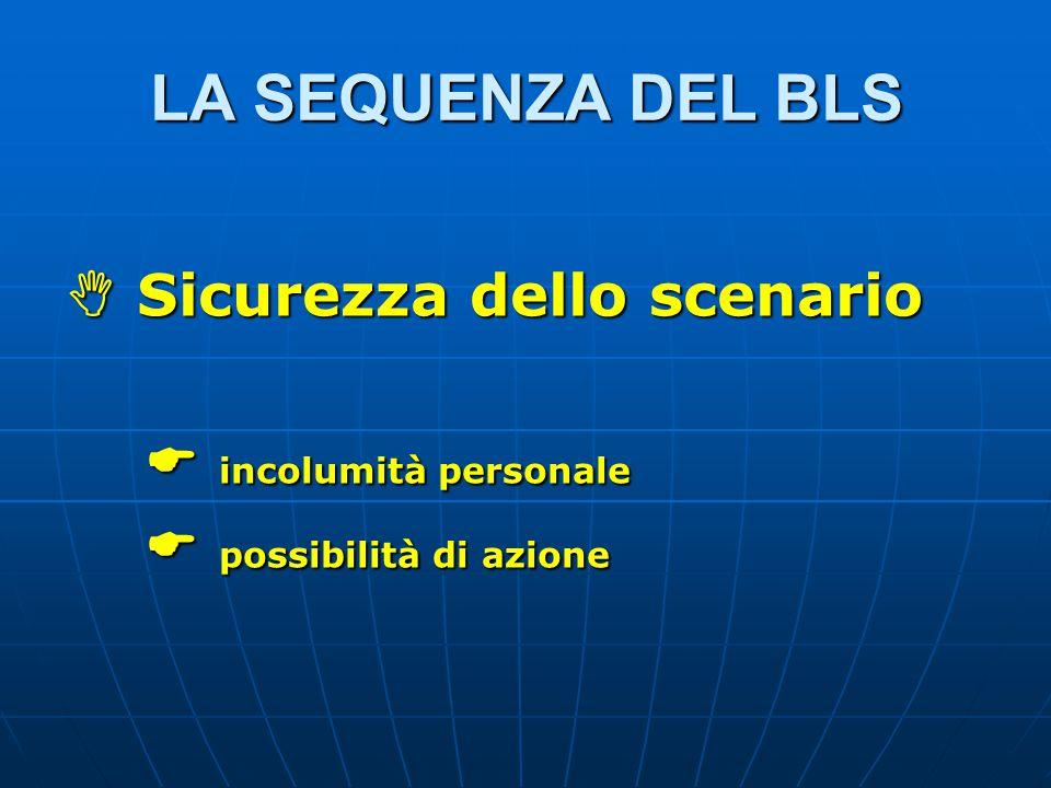 LA SEQUENZA DEL BLS  Sicurezza dello scenario  incolumità personale  incolumità personale  possibilità di azione  possibilità di azione