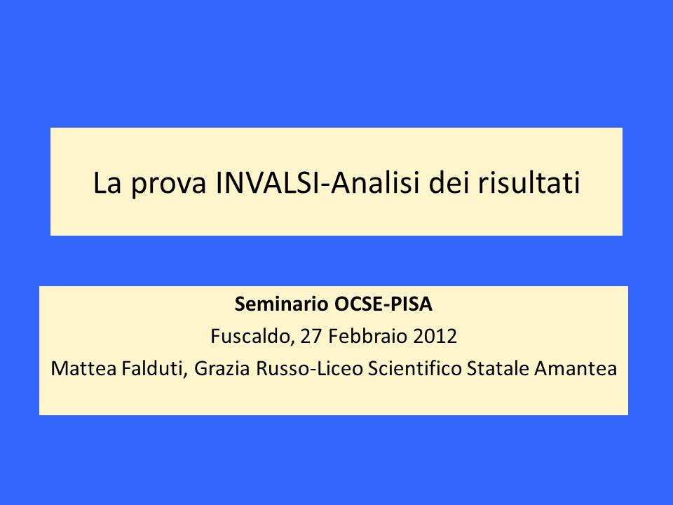 La prova INVALSI-Analisi dei risultati Seminario OCSE-PISA Fuscaldo, 27 Febbraio 2012 Mattea Falduti, Grazia Russo-Liceo Scientifico Statale Amantea
