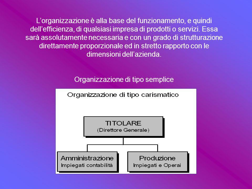 L'organizzazione è alla base del funzionamento, e quindi dell'efficienza, di qualsiasi impresa di prodotti o servizi.