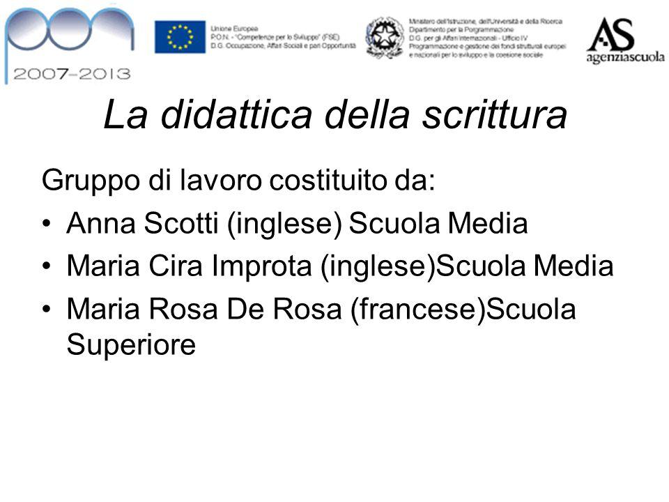La didattica della scrittura Gruppo di lavoro costituito da: Anna Scotti (inglese) Scuola Media Maria Cira Improta (inglese)Scuola Media Maria Rosa De