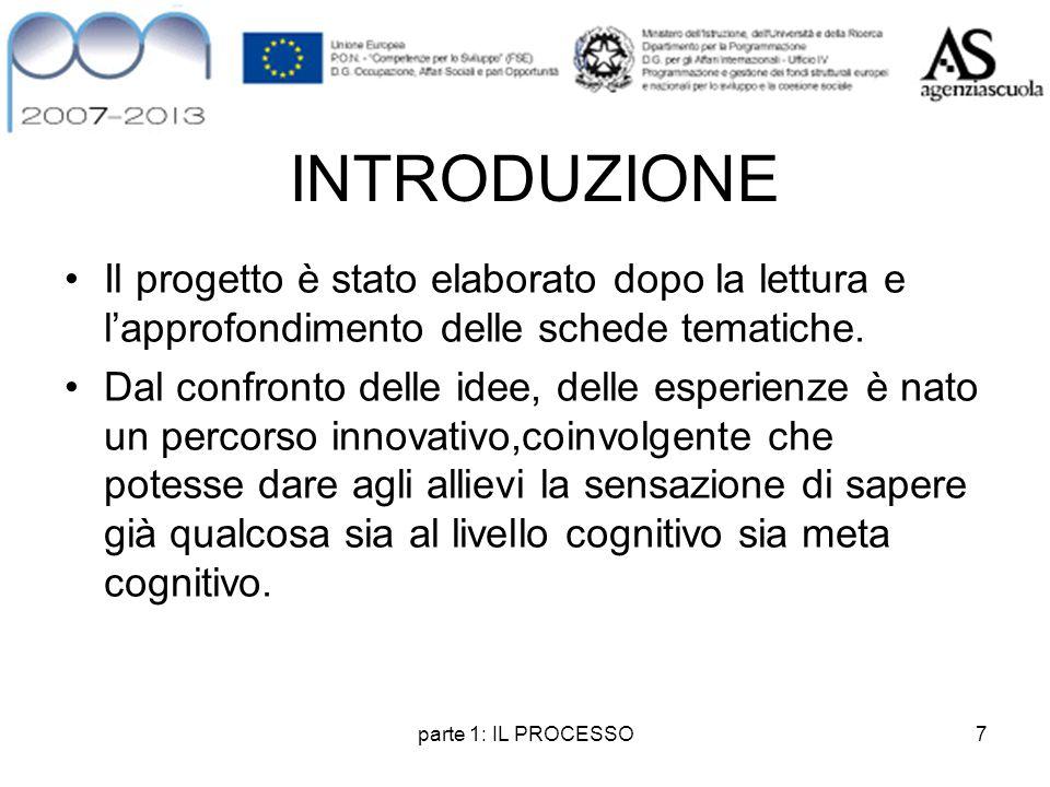 parte 1: IL PROCESSO7 INTRODUZIONE Il progetto è stato elaborato dopo la lettura e l'approfondimento delle schede tematiche. Dal confronto delle idee,
