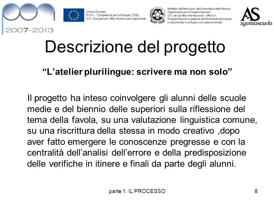 """parte 1: IL PROCESSO8 Descrizione del progetto """"L'atelier plurilingue: scrivere ma non solo"""" Il progetto ha inteso coinvolgere gli alunni delle scuole"""