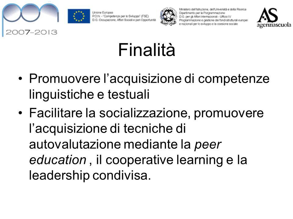 Finalità Promuovere l'acquisizione di competenze linguistiche e testuali Facilitare la socializzazione, promuovere l'acquisizione di tecniche di autov