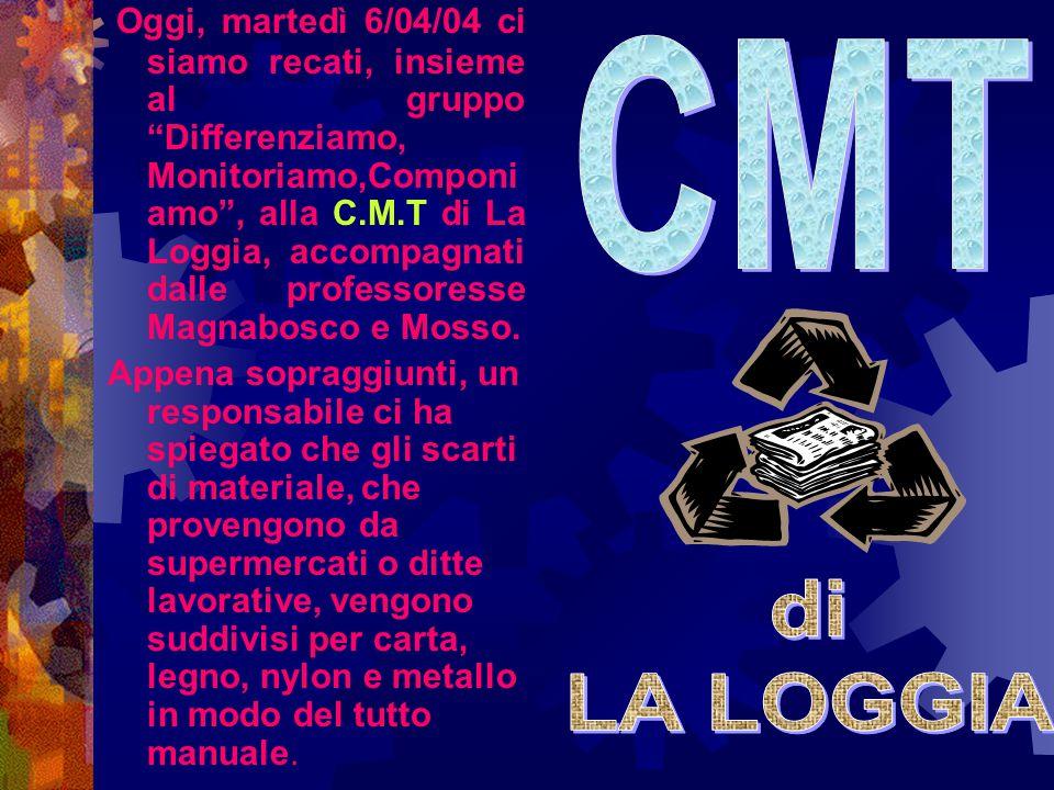"""Oggi, martedì 6/04/04 ci siamo recati, insieme al gruppo """"Differenziamo, Monitoriamo,Componi amo"""", alla C.M.T di La Loggia, accompagnati dalle profess"""