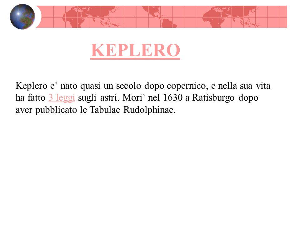 KEPLERO Keplero e` nato quasi un secolo dopo copernico, e nella sua vita ha fatto 3 leggi sugli astri. Mori` nel 1630 a Ratisburgo dopo aver pubblicat