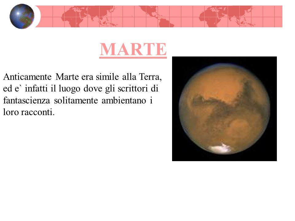 MARTE Anticamente Marte era simile alla Terra, ed e` infatti il luogo dove gli scrittori di fantascienza solitamente ambientano i loro racconti.