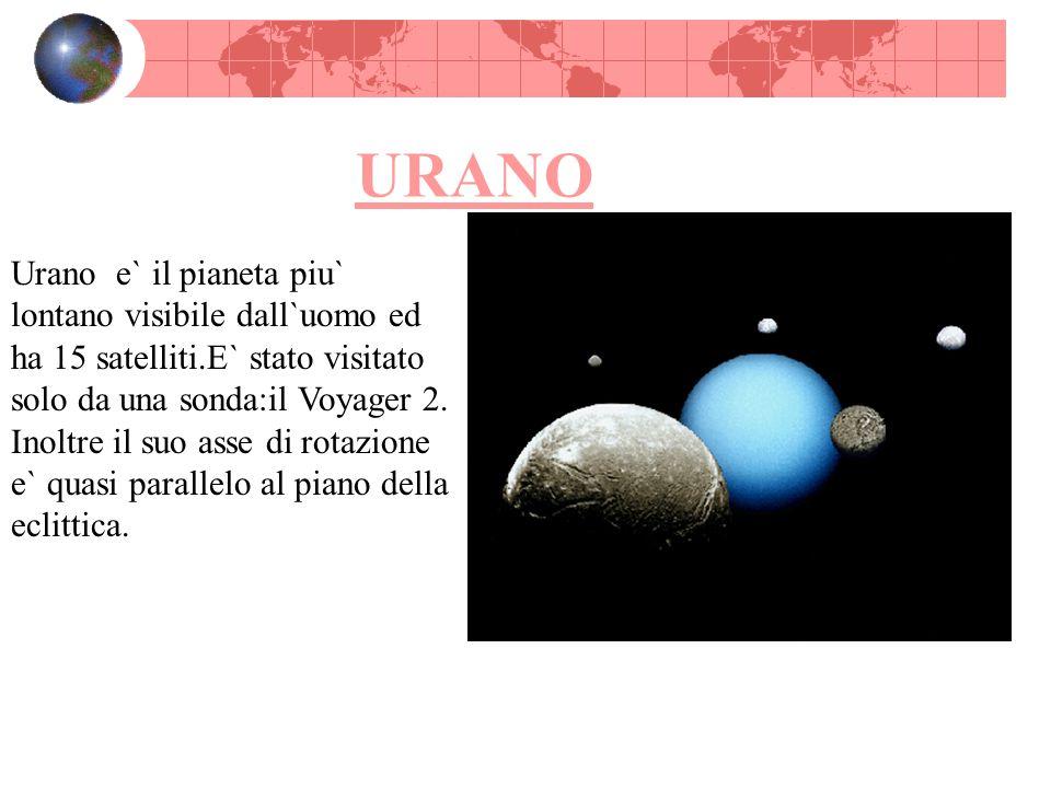 URANO Urano e` il pianeta piu` lontano visibile dall`uomo ed ha 15 satelliti.E` stato visitato solo da una sonda:il Voyager 2. Inoltre il suo asse di