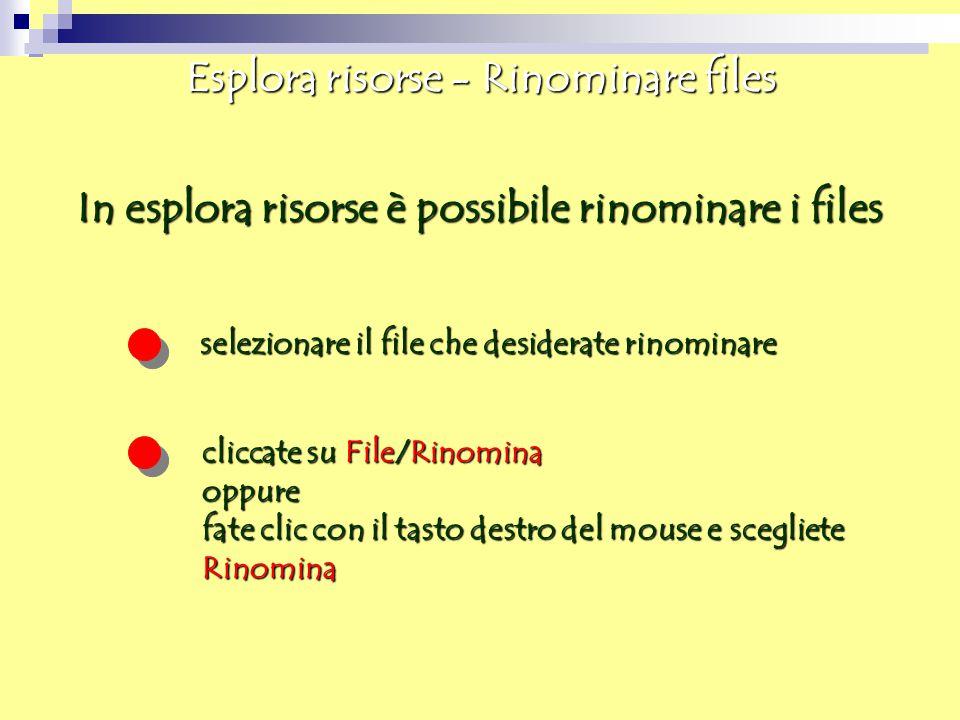 Esplora risorse - Rinominare files In esplora risorse è possibile rinominare i files selezionare il file che desiderate rinominare cliccate su File/Ri