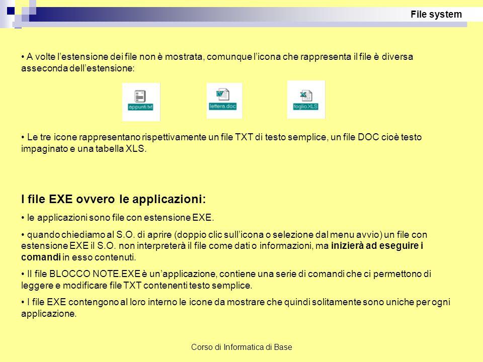Corso di Informatica di Base A volte l'estensione dei file non è mostrata, comunque l'icona che rappresenta il file è diversa asseconda dell'estension