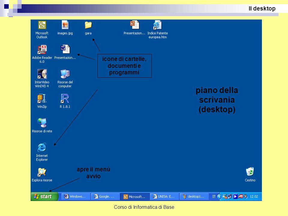 Corso di Informatica di Base apre il menù avvio piano della scrivania (desktop) icone di cartelle, documenti e programmi Il desktop
