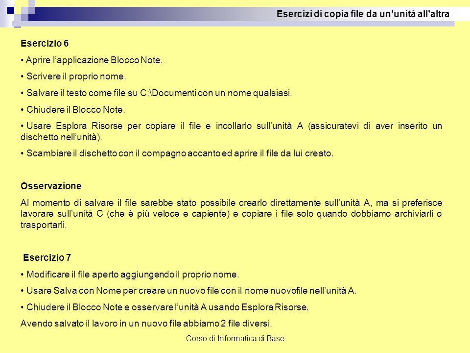 Corso di Informatica di Base Esercizi di copia file da un'unità all'altra Esercizio 6 Aprire l'applicazione Blocco Note. Scrivere il proprio nome. Sal