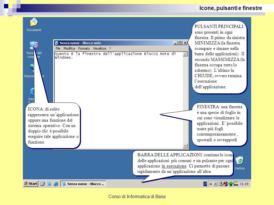 Corso di Informatica di Base FINESTRA: una finestra è una specie di foglio in cui sono visualizzate le applicazioni. E' possibile usare più fogli cont