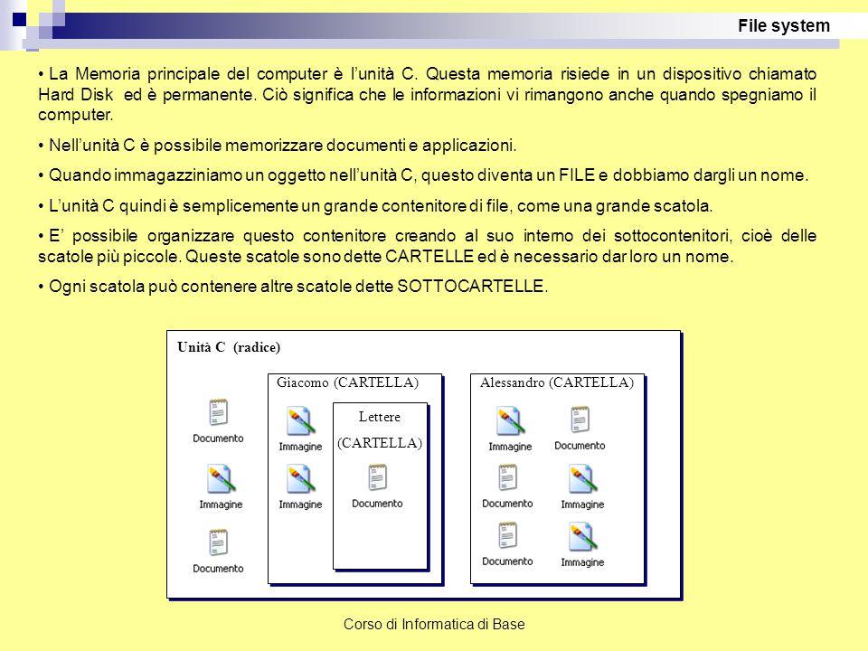 Lavorare con files e cartelle Le cartelle (o directory) servono per organizzare le migliaia di files che possono essere presenti in un computer.
