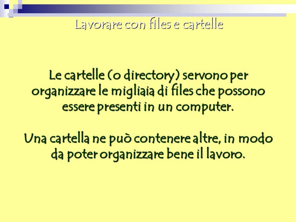 Lavorare con files e cartelle Le cartelle (o directory) servono per organizzare le migliaia di files che possono essere presenti in un computer. Una c