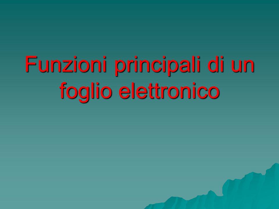 Funzioni principali di un foglio elettronico